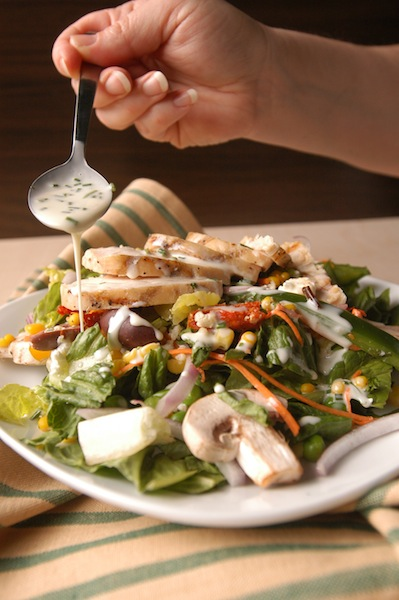 Salad, dressing, honey, lemon