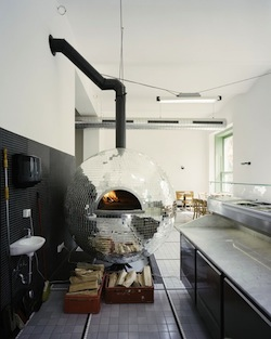 disco ball, oven, pizza, pizzeria