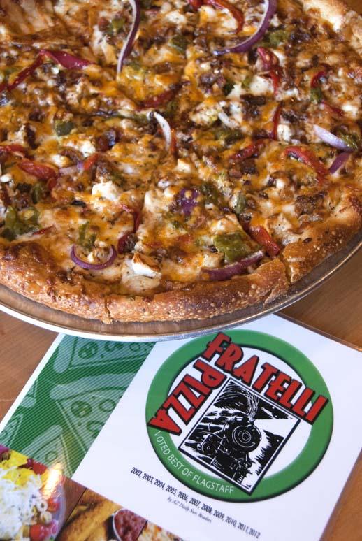 Fratelli Pizza pie and menu
