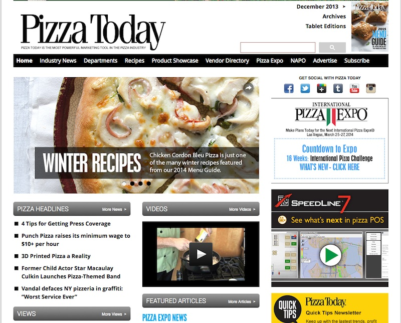 PizzaToday homepage