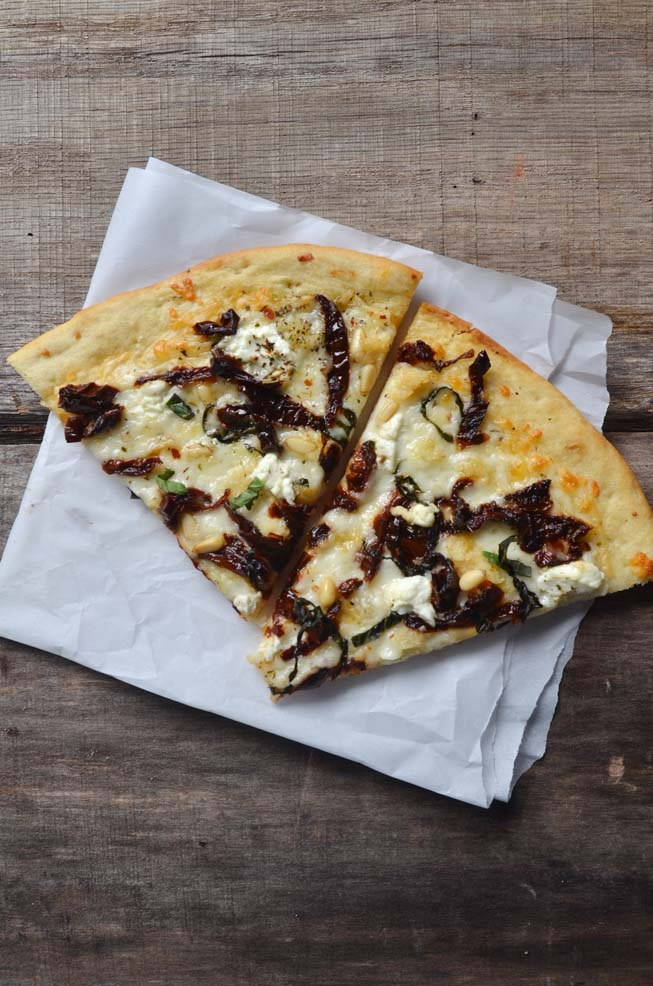 sun-dried tomato goat cheese pizza slices