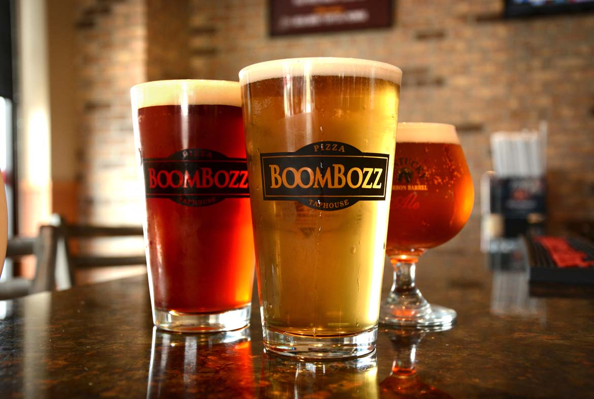 Boombozz Pizza, Louisville, KY, beer, brewpub, logo glasses