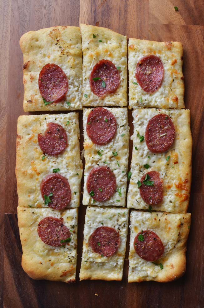 Salumi, pizza, rustic, rectangle, slices, recipe