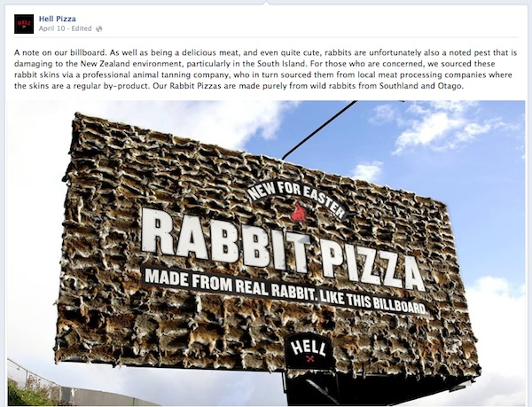 rabbit skin, billboard, Hell Pizza