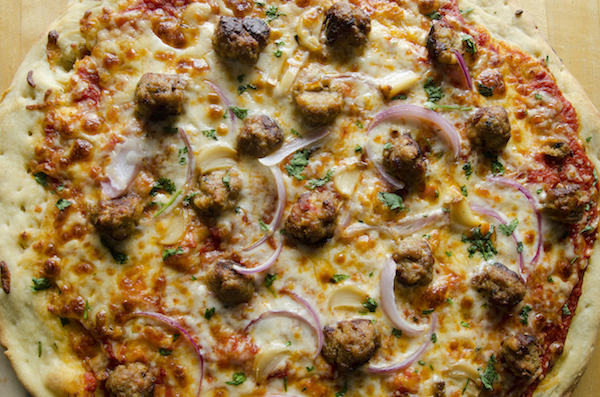 chorizo meatball pizza