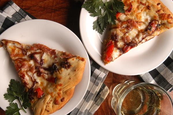 Prosciutto and Mozzarella Pizza with Caramelized Onions