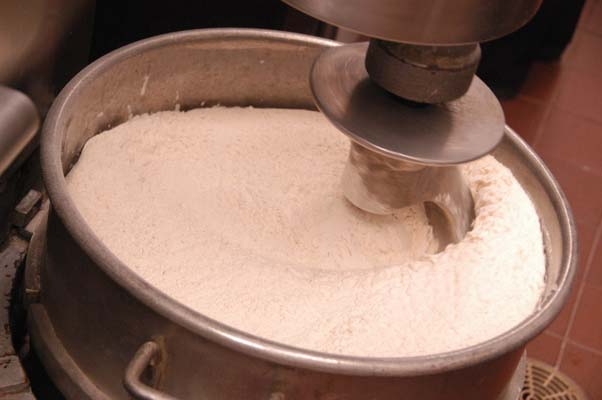mixer dough and flour