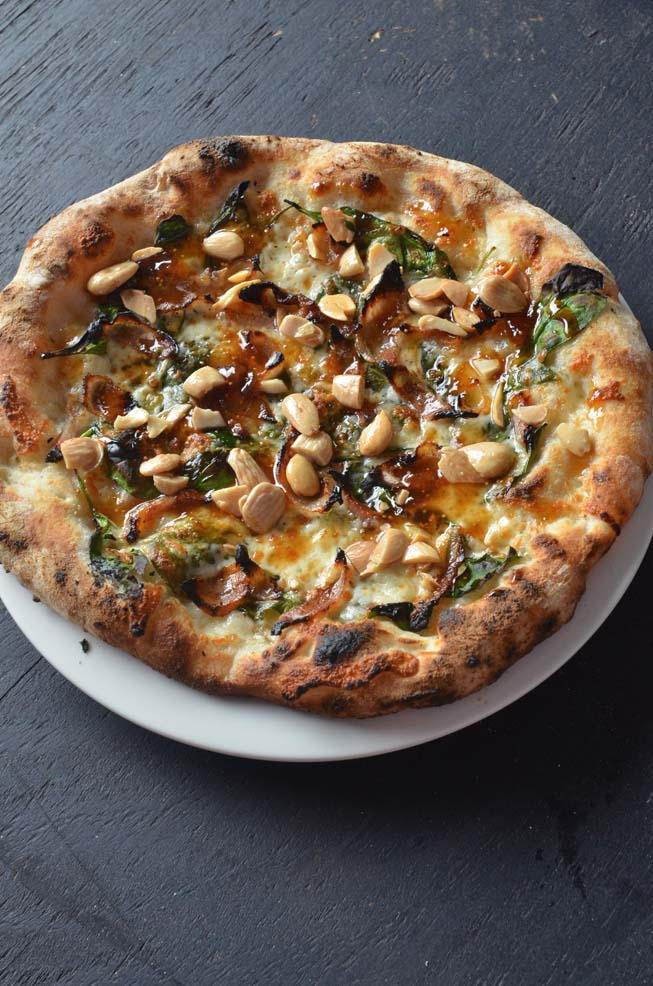 Guanciale and Fig Pizza, john gutekanst, winter, menu guide, pancetta, spinach, fig jam