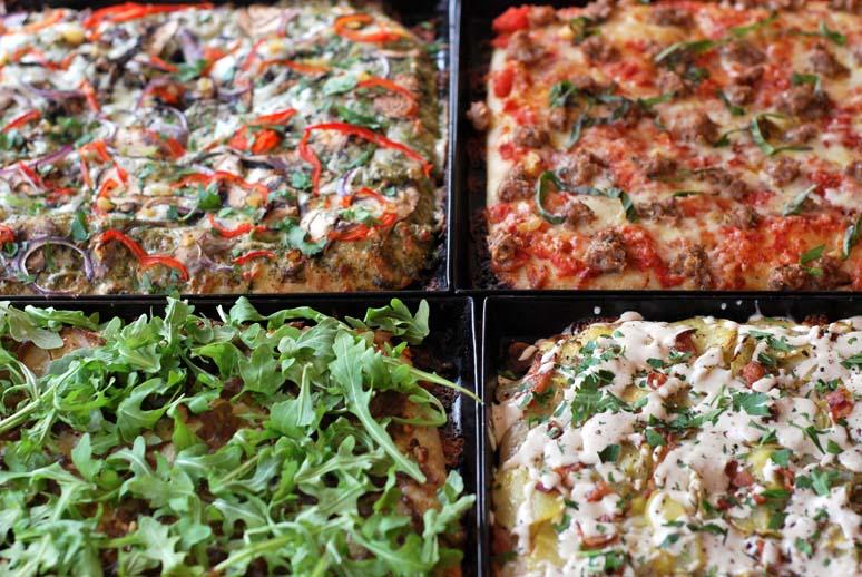 Goat Mountain Pizza, Bellingham, WA, four pies