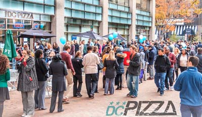 DC pizza, grand opening, line, free pizza
