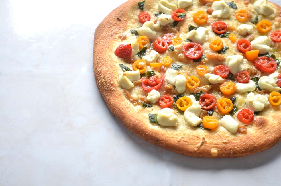 pizza, tomato, ricotta, spinach, garlic, recipe