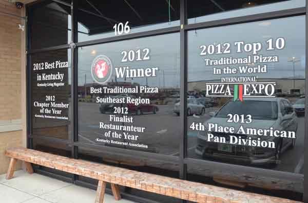 Lost River Pizzeria window marketing