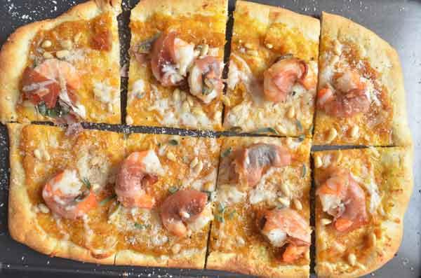 shrimp saltimbocca pizza
