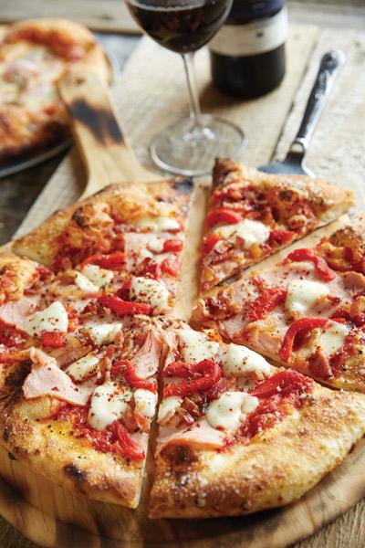 Double bacon pizza, Harvest Pizzeria