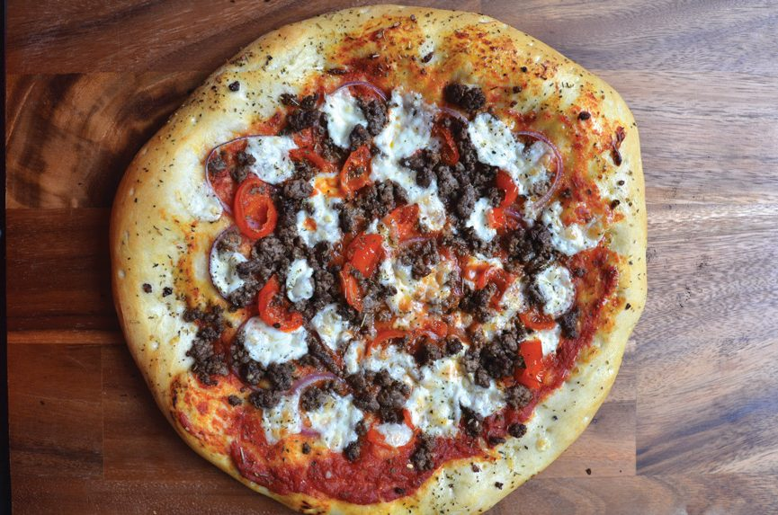 ground bison buffalo pizza